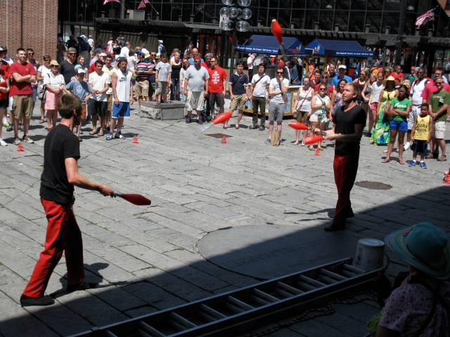 The Red Trouser Show performing at Faneuil Hall last summer