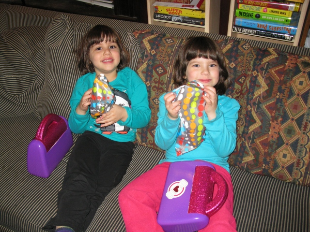 Muffin and Squeaker with their Doc McStuffins Kits